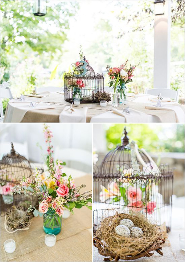Flower birdcage table decorations for Home decor centerpieces