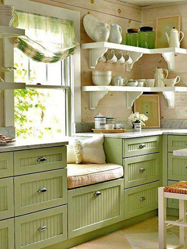 Green country kitchen for House plans with country kitchens