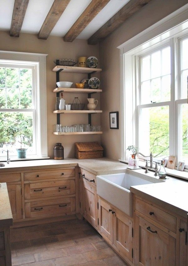 Simple country kitchen for Kitchen ideas no window