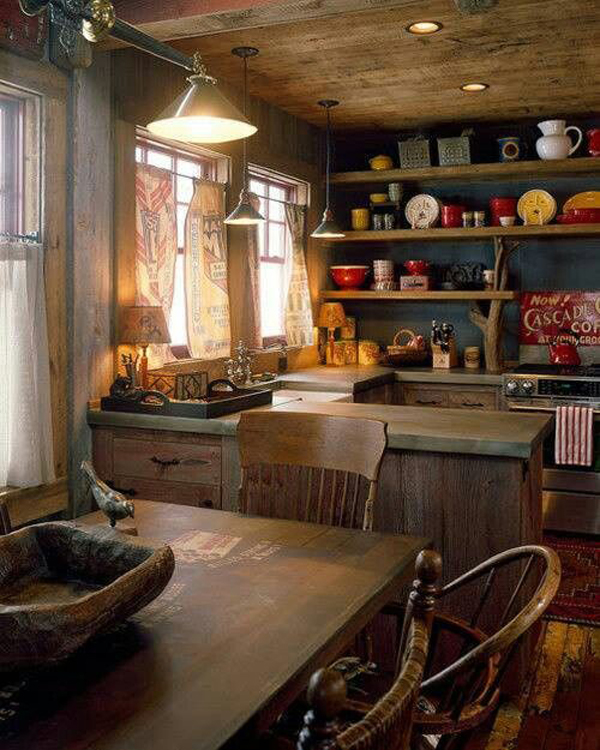 Small rustic cabin kitchens the image for Small country kitchen decorating ideas