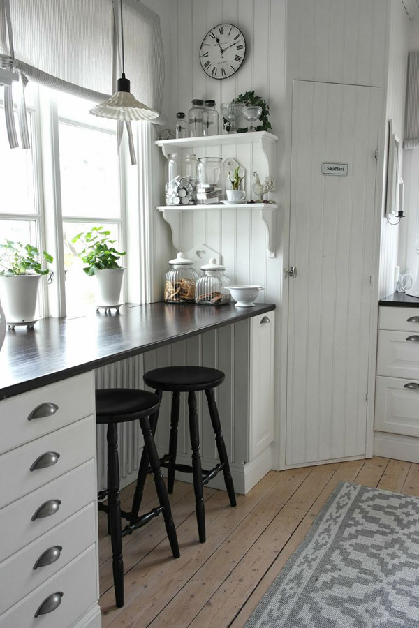 White country kitchen design Breakfast nook bar ideas