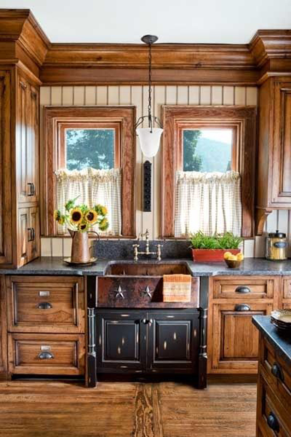 Wooden country kitchen for Country farm kitchen ideas