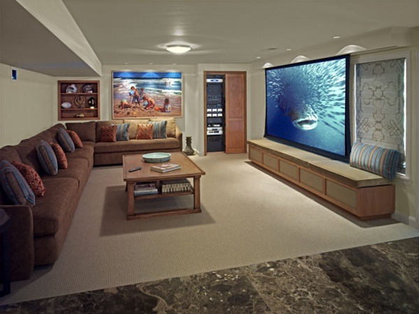 Aesome basement projector movie room for Basement room