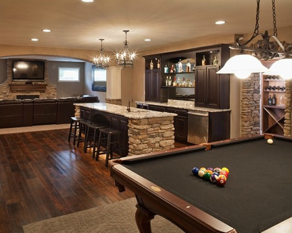Basement ideas with entertainment area home design and interior - Basement design ideas photos ...