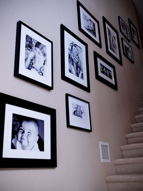Gallery Wall Ideas Black And White : Stairway gallery wall ideas home design and interior