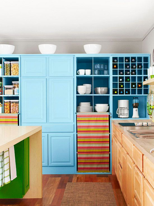 blue color kitchen cabinet