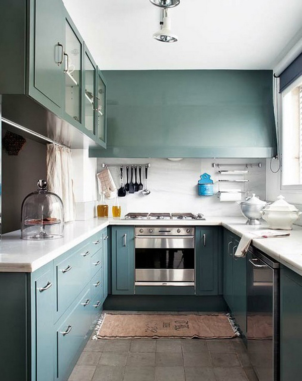 Blue kitchen painted ideas for Blue kitchen paint ideas