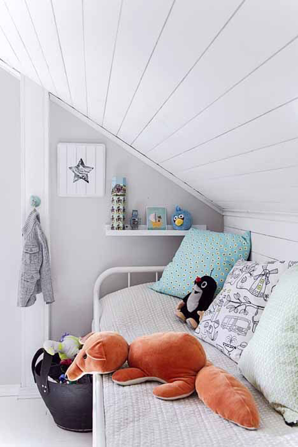 Attic Room Yet Bright Kids Loft Bed Design With A Wooden Ladder