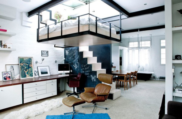 For More Extreme, You Can Move The Bed Was Really In Ceiling, You Do Not  Even Realize Or Recognize It. Modern Bed Design With Solid Stairs Leading  Up To It ...