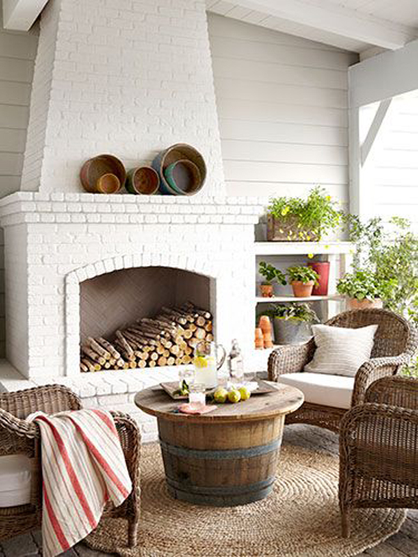 Country Outdoor Livingroom With Fireplace