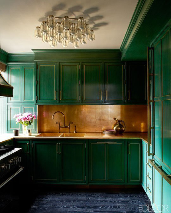 Green Kitchen: Dark-green-kitchen-cabinet