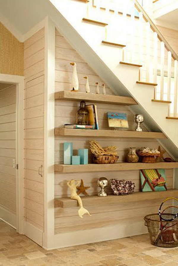 floating shelves under stairs