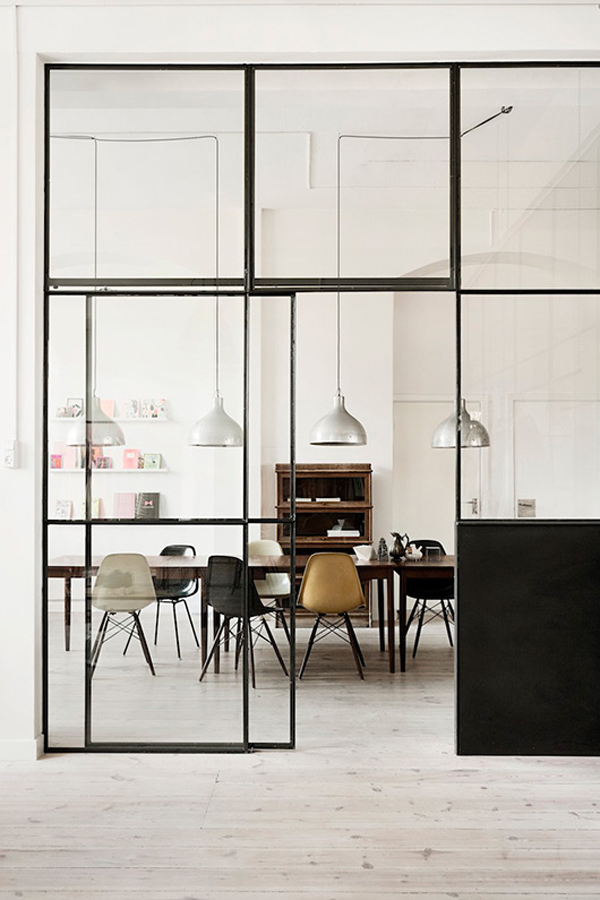 The glass divider for your space home design and interior - Partition kitchen dining ...