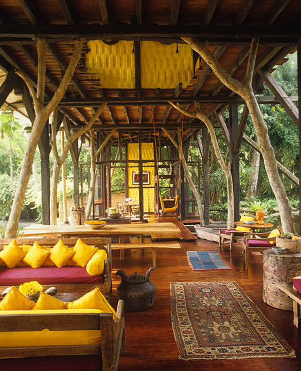 indonesian outdoor living space with traditional style