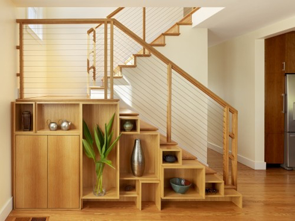 Japanese storage under stairs for Under stairs shelving