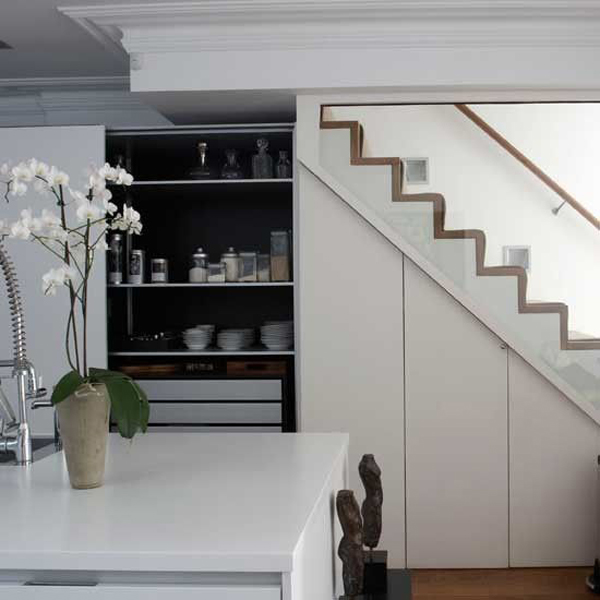 Kitchen storage understairs for Kitchen designs under stairs