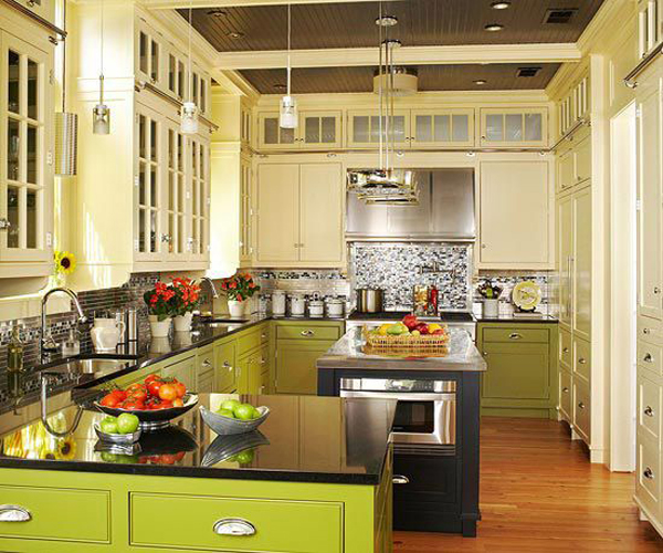 Modern Green Kitchen Painted Cabinet