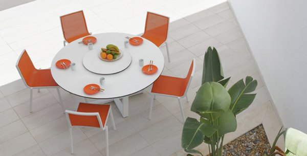 Orange White Outdoor Table Chairs Furniture
