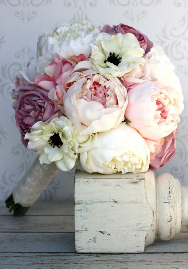 Wedding Flowers In Silk : Silk bride bouquet wedding flower pink