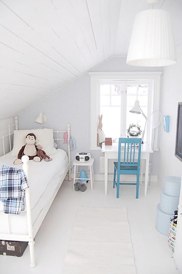 Simple White Attic Bedrooms