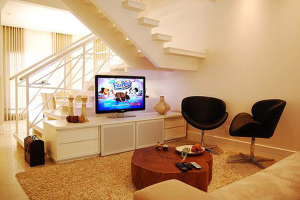 Basement ideas with entertainment area home design and for Interior design of living room with stairs