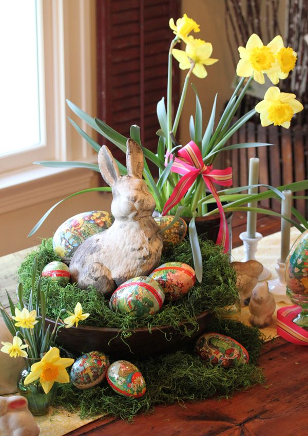 Vintage easter egg table decor - Deco table paques ...