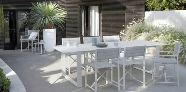 White outdoor dining table set for White metal outdoor dining table