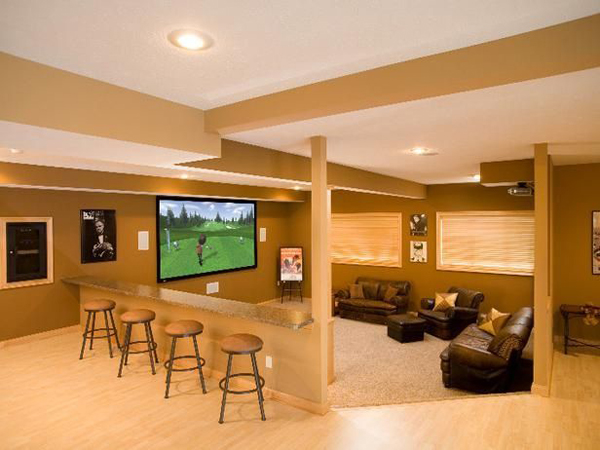 wooden basement entertainment