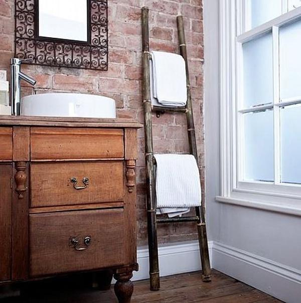 Vintage Ladder Holding Towel Bathroom