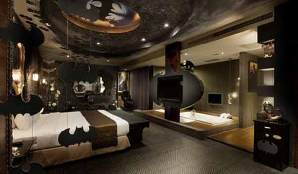 dark bedroom design with batman themes