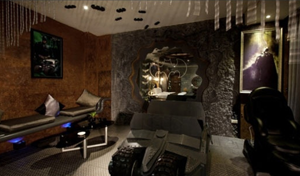 dark bedroom design with batman themes home design and interior