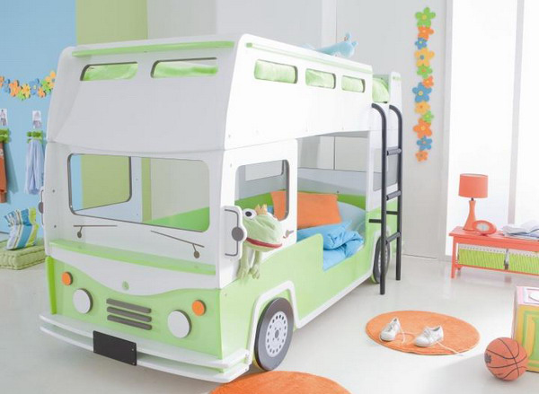 Bus shaped bunk bed for kids room - Bus kinderbett ...