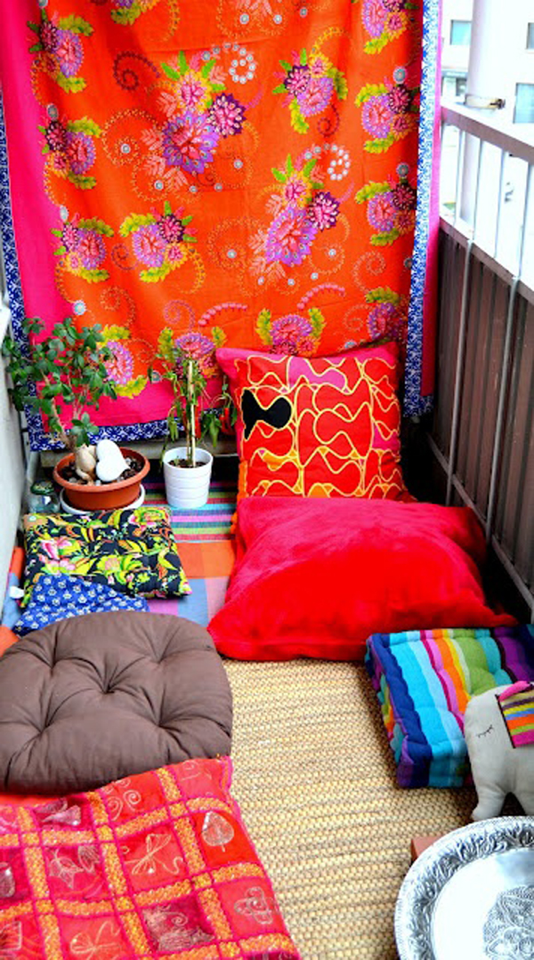 Prayer Room Design Ideas: Colorful-and-small-boho-chic-balcony-ideas