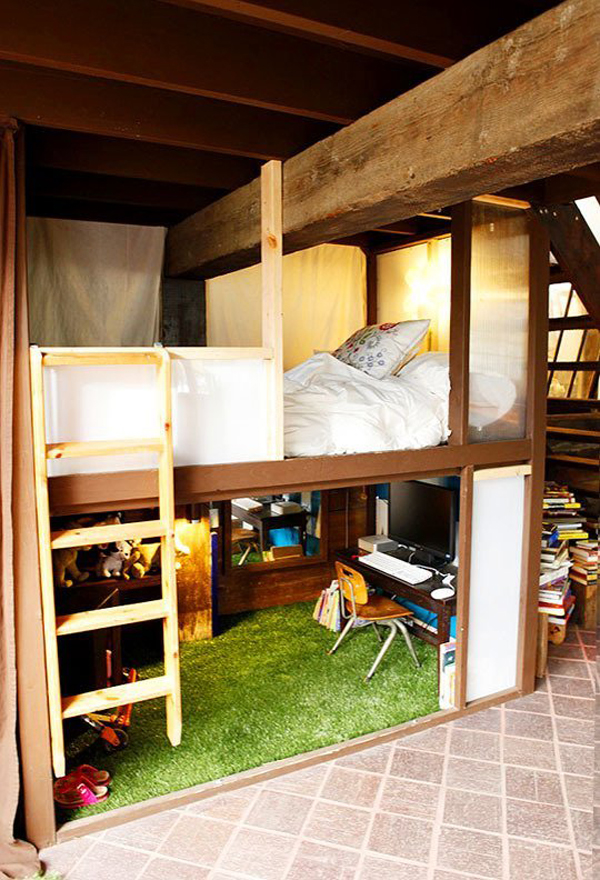 Space Saving Loft Bed woodland forest treehouse theme for small bedroom ikea stora loft