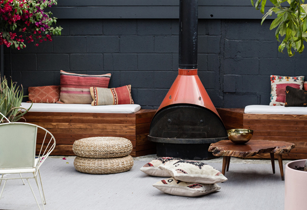 Gallery Of DIY Outdoor Patio Seating With Stovepipe Fireplace