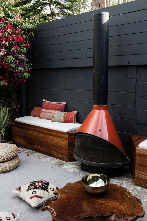 DIY Outdoor Patio Seating With Stovepipe Fireplace | Home ... on Build Backyard Patio id=57584