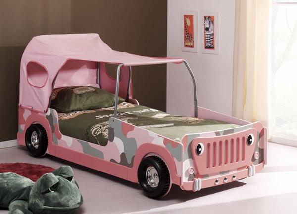 Pink Car Shaped Bed For Girls Bedroom