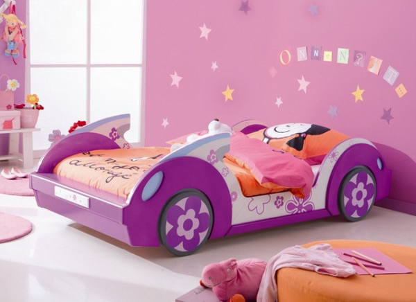 . purple car shaped bed for girls
