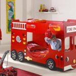 Bus shaped bunk bed for kids room for Fire truck bedroom ideas