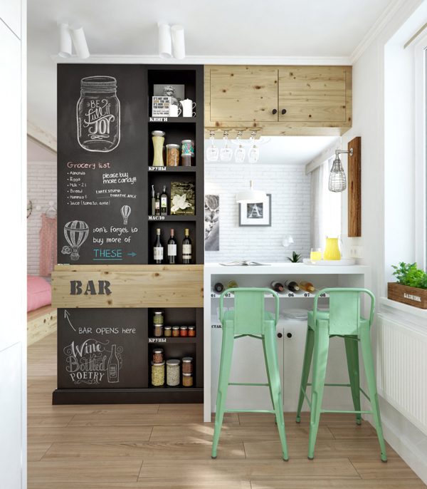 Small Home Bar   Chalkboard In Bar. Image Source
