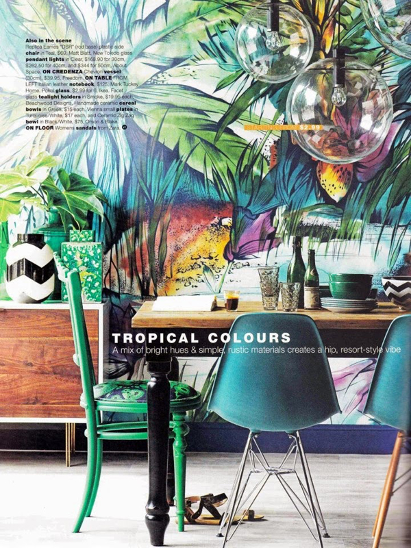 Tropical interior color design for American tropical mural
