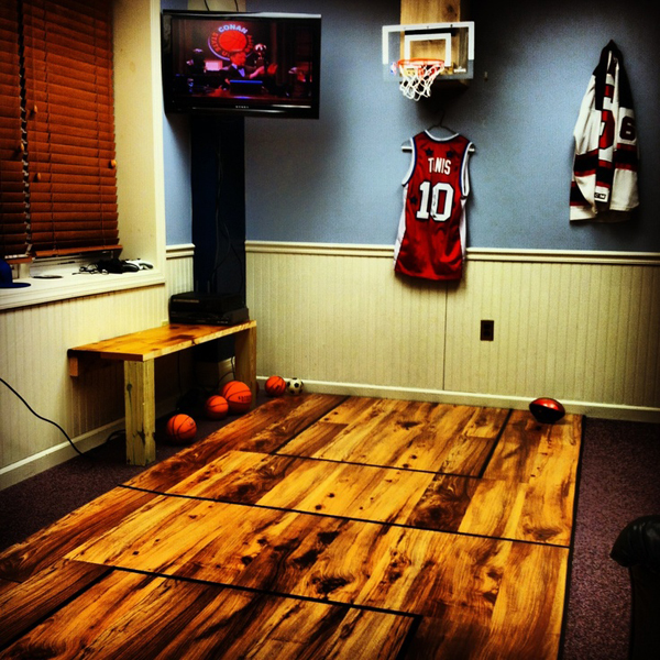 Interior Design Ideas For Home Theater: Basketball-room-with-wooden-floor