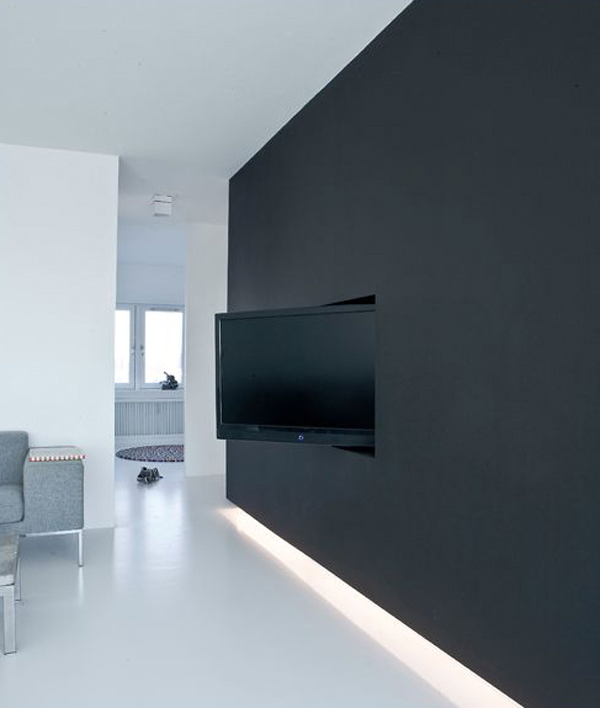 black tv wall hidden designs. Black Bedroom Furniture Sets. Home Design Ideas