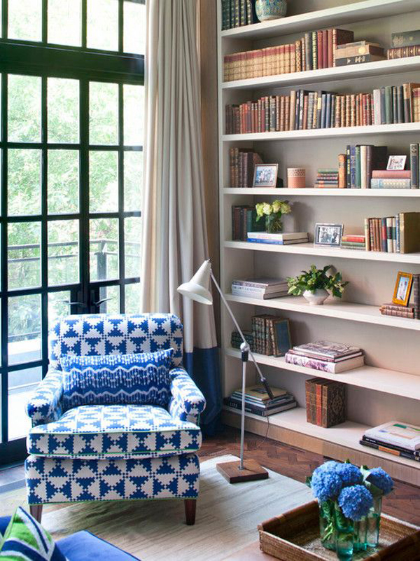 Bright home library design ideas for Home library ideas design