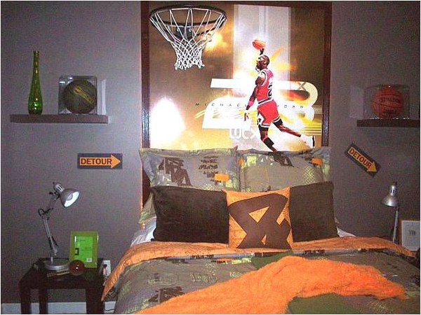 Cool basketball bedroom decals for Basketball bedroom ideas