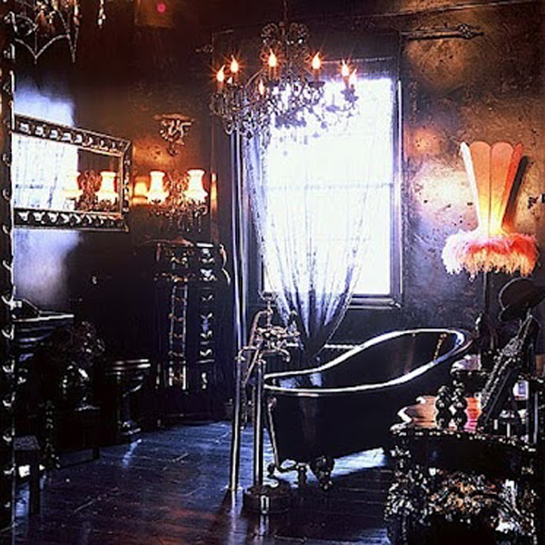 35 dark gothic interior designs home design and interior for Gothic bathroom ideas