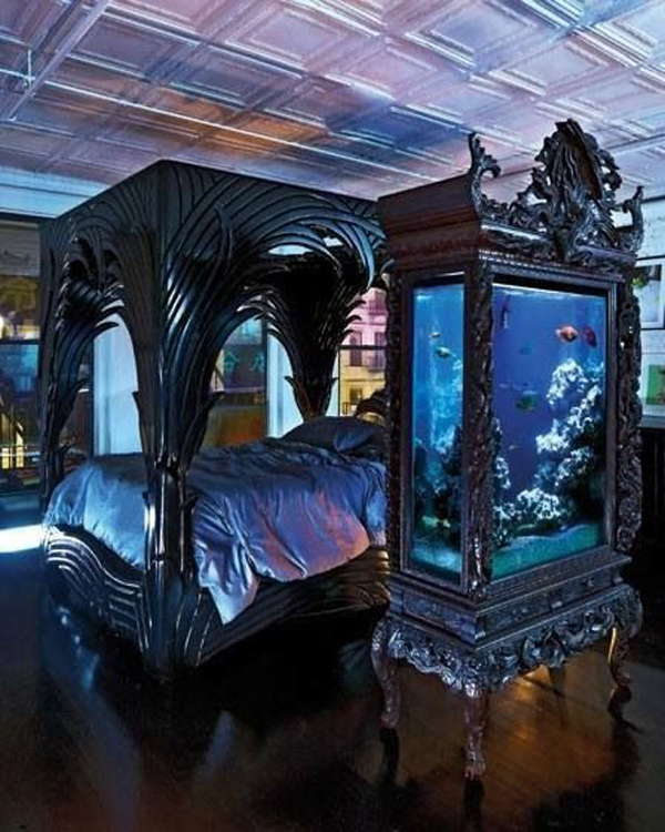 Gothic bedroom with aquarium ideas for Fish tank bedroom ideas