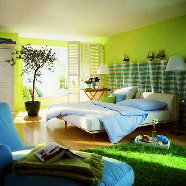 Green bedroom open space for Bedroom designs green
