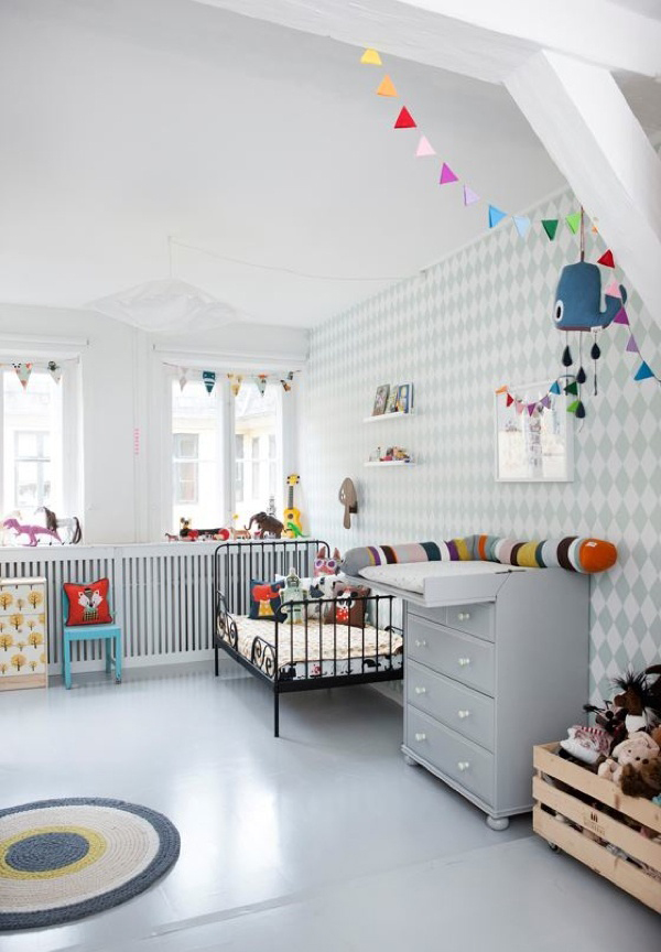 Grey Pastel Kids Bedroom