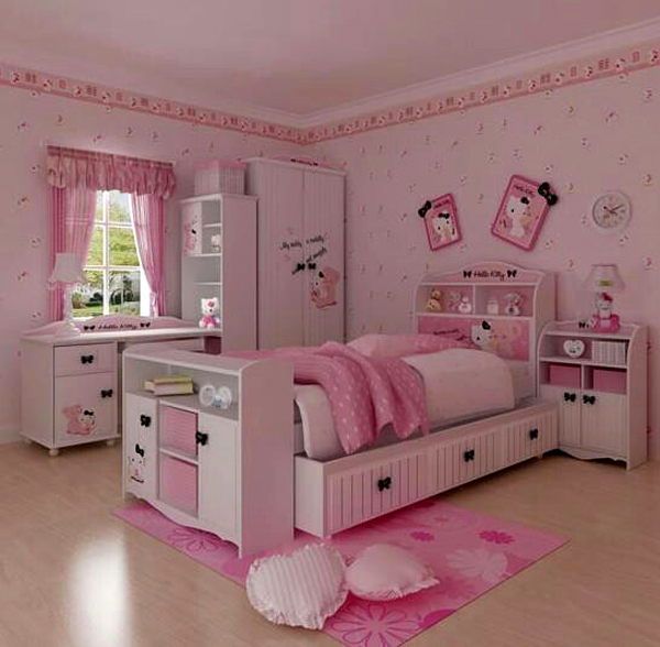 Bedroom Ideas Hello Kitty Soft Bedroom Colors Childrens Turquoise Bedroom Accessories Bedroom Decorating Ideas Gray And Purple: 25 Hello Kitty Bedroom Theme Designs